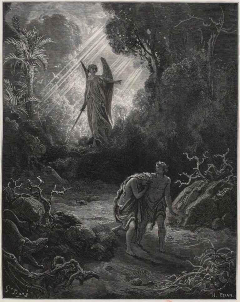 Adam And Eve Driven From Eden Gustave Dore La Sainte Bible Selon La Vulgate