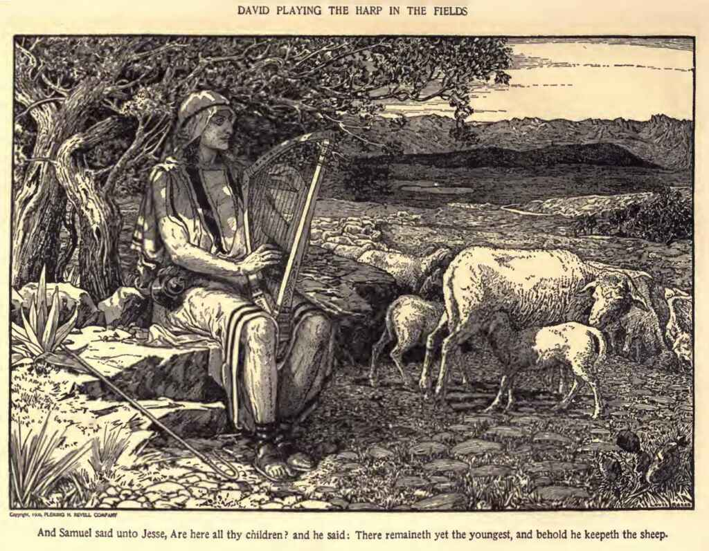 David Playing The Harp In The Fields Louis Rhead The Psalms Of David