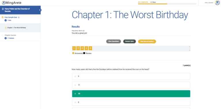 Quiz Results Screen